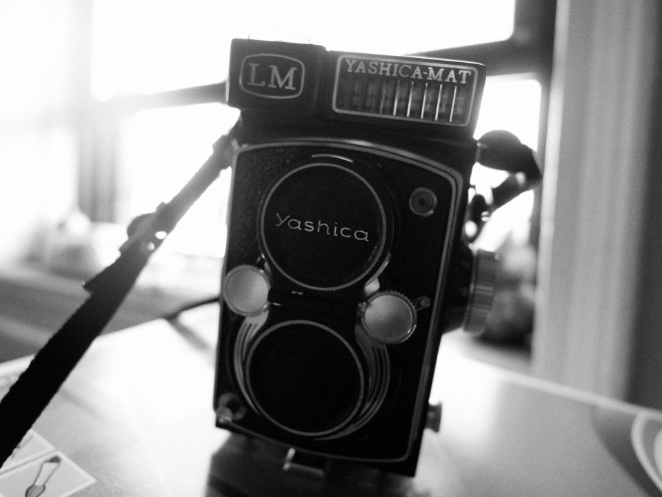 The Yashica-Mat LM: If you want to look at the world backwards and can't justify spending money for a Rolleiflex 2.8, get one of these.